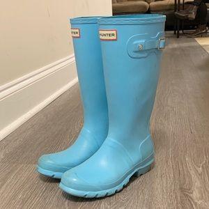 Light Blue Tall Hunter Rain Boots